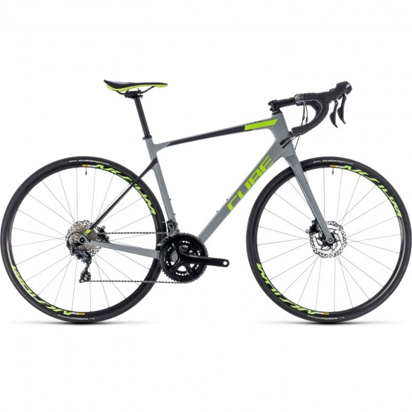 Bicicleta Cube Attain Gtc Race Disc Grey Green 2018