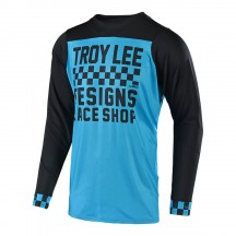Tricou Bicicleta Troy Lee Designs Skyline Checker Ls Ocean Black