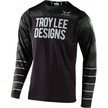 Tricou Bicicleta Troy Lee Designs Skyline Ls Pinstripe Camo Green / Black 2020