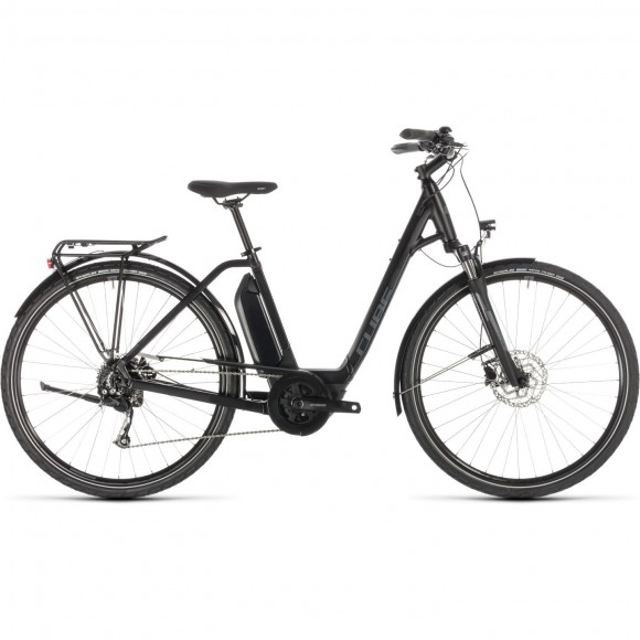 Bicicleta Cube Town Sport Hybrid One 400 Easy Entry Black Grey 2019