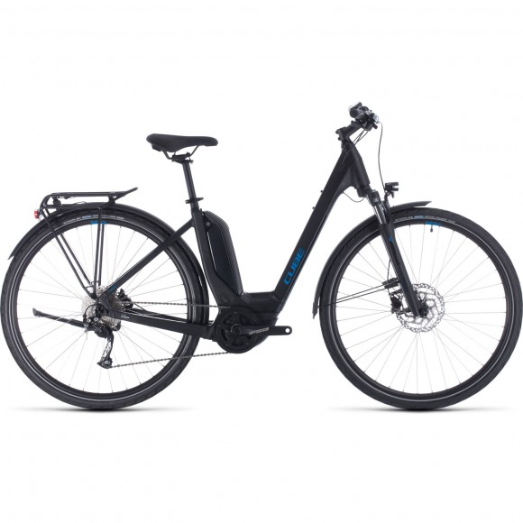 BICICLETA CUBE TOURING HYBRID ONE 400 EASY ENTRY Black Blue 2020