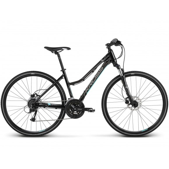 Bicicleta Kross Evado 5.0 28 black turquoise glossy 2019