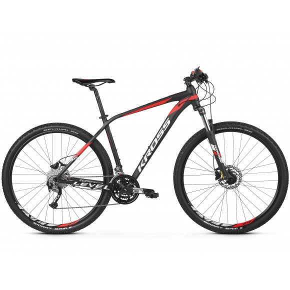 Bicicleta Kross Level 3.0 29 black red white matte 2019