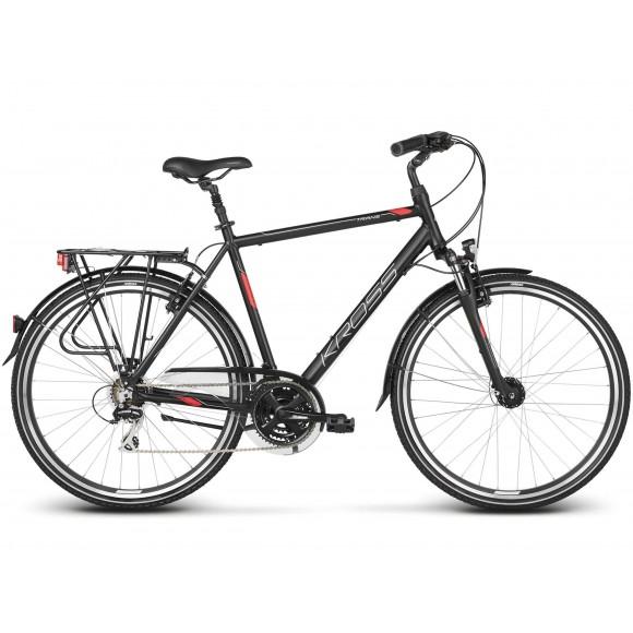 Bicicleta Kross Trans 3.0 28 black red silver matte 2019