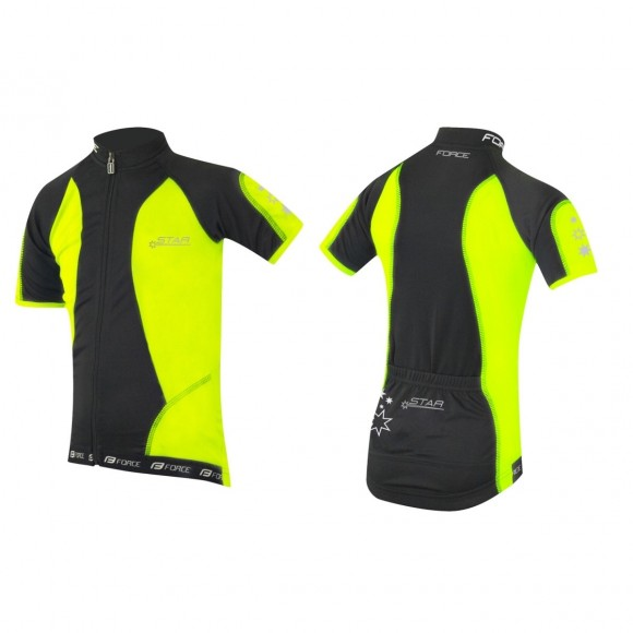 Tricou ciclism Force Kid Star fluo