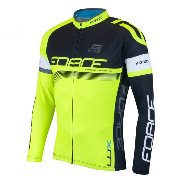 Bluza ciclism Force Lux maneci lungi negru/fluo L