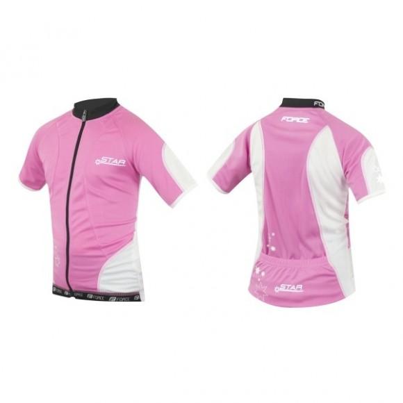 Tricou ciclism Force Kid Star roz/alb