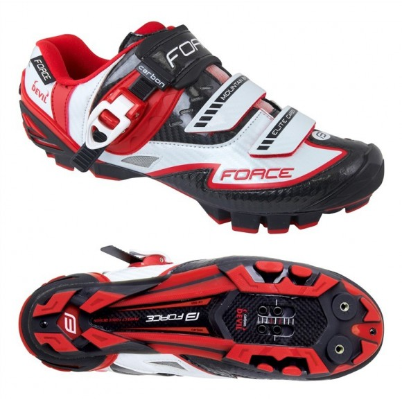 Pantofi Force MTB Carbon Devil alb/rosu
