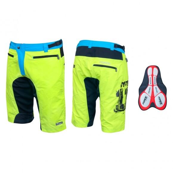 Pantaloni scurti MTB Force F-11 cu interior detasabil galben fluorescent XXL
