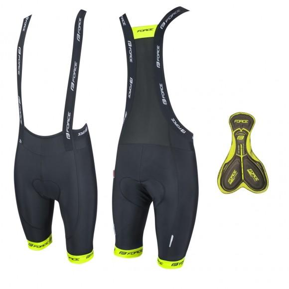 Pantaloni scurti cu bazon si bretele Force B45 negru/fluo XXL
