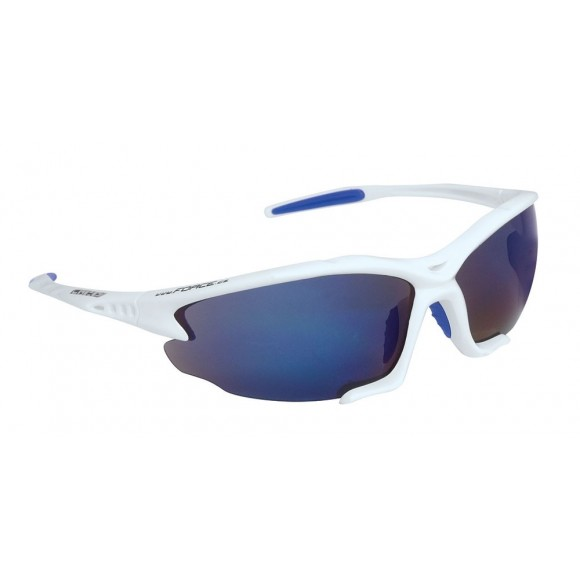 Ochelari sport Force Light albi lentila albastru laser