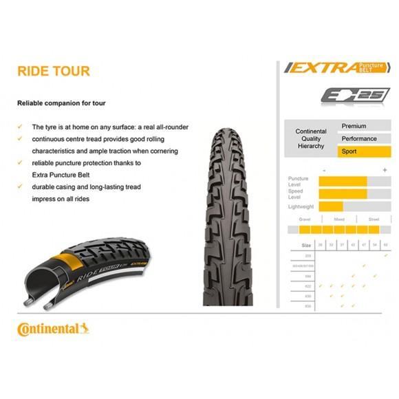 Anvelopa Continental Ride Tour Reflex Puncture-ProTection 47-622 (28*1,75) negru/negru