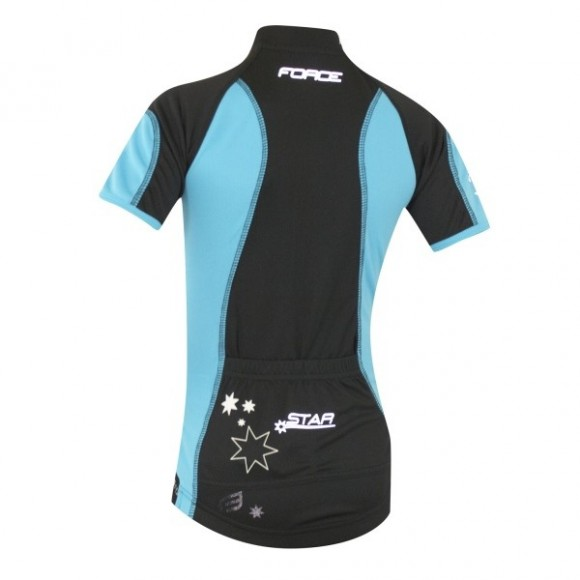 Tricou ciclism Force Kid Star albastru/negru